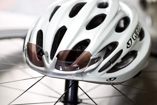 Giro's Prolight Helmet in White/Silver with Filter Sunglasses