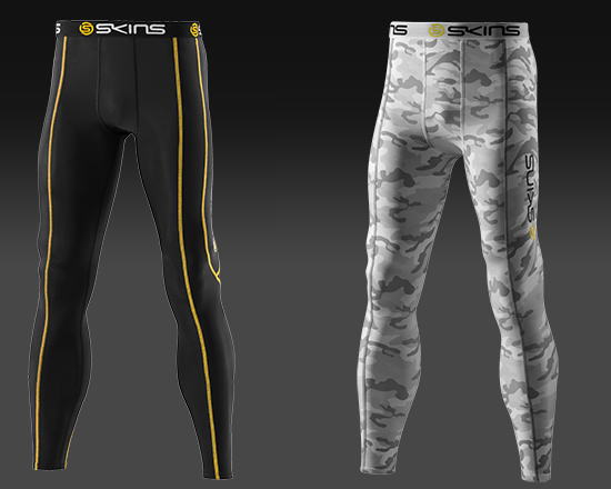 SKINS compression long sport and camo tights will aid rider recovery