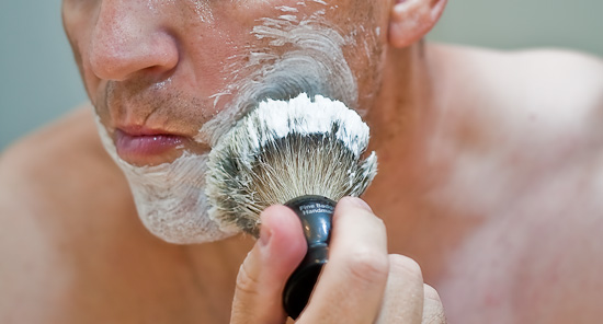 Letting the Art of Shaving Badger Hair Brush do its work