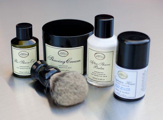 The Art of Shaving's Pre-Shave Oil, Shaving Cream, After-Shave Balm, Ingrown Hair Night Cream and Fine Badger Hair Shaving Brush make quite a shaving kit