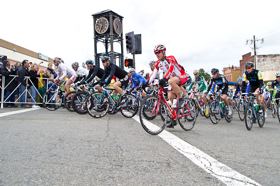 Greg Henderson at the front right from the first lap